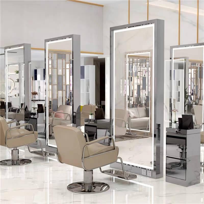 New Led Lighting Salon Mirror Station, Round Salon Mirrors With Lights